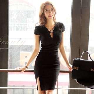 修身黑色短袖開叉性感洋裝