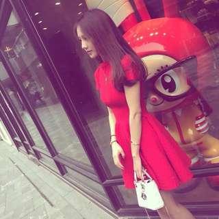 春酒喜宴短袖紅色A字洋裝