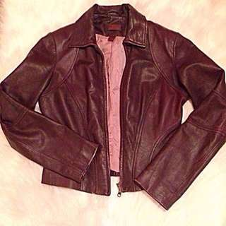 Deep maroon Leather jacket xs
