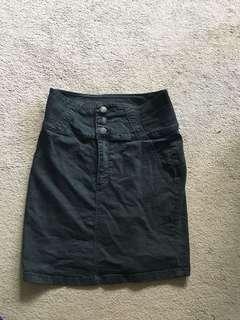 High waisted black denim skirt