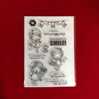 Girl with lollipop scrapbooking clear stamp