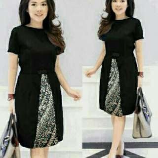 DRESS KOMBI BATIK BLACK TERMURAH