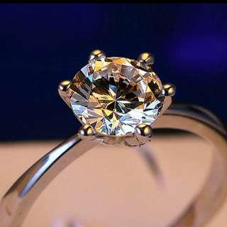 1克拉純銀單鑽戒指(可調)