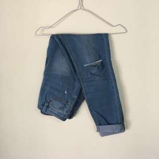 Blue Knee Rip Jeans