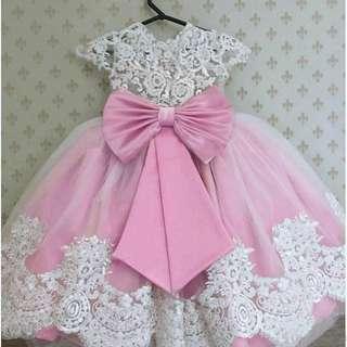 CS7026 Princess Dress Brokat Pink Baby,,Matt brokat import lapis furing, LD-65 PJ-65 fit 2-4th tergantung anak, blkg sleting mix tile, berat 0.20kg