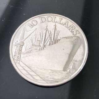 $10 Singapore 10th Anniversary Ship Coin