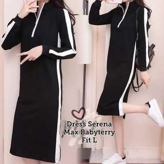 CS7023 Dress Serena, Bahan babyterry, LD-95 PJ-90 fit to L, berat 0.25kg
