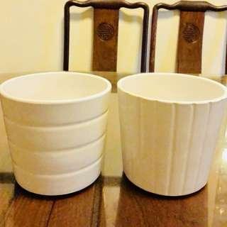 IKEA Ceramic White Plant Pot (H003)