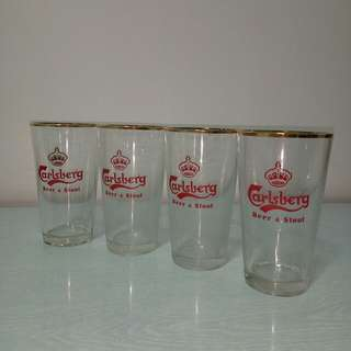 Vintage Beer glass with Crown logo unused mint 4pieces $6