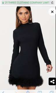 Pretty Little Thing Black Feather Bodycon Dress
