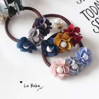 Three floral hair tie - 3 colors in stock