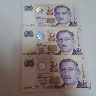 $2 note lucky number series OGY282628, OGY292666, OGY292688