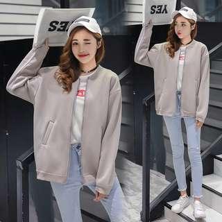 Mono-coloured Korean Style Oversized Baseball Jacket