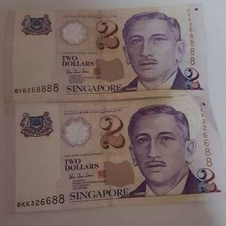 $2 Notes fancy number OVB268888 & OKK326688