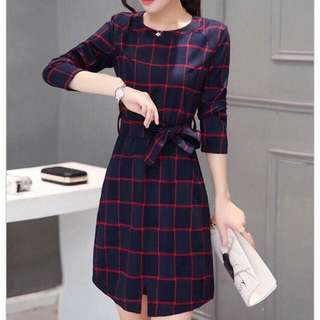 Plaid Woolen Elegant Dress