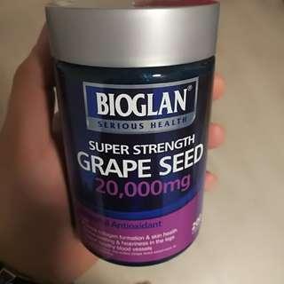 Bioglan】★ Grape Seed 20000mg 200 capsules ★ Powerful Antioxidant ★ Collagen support ★