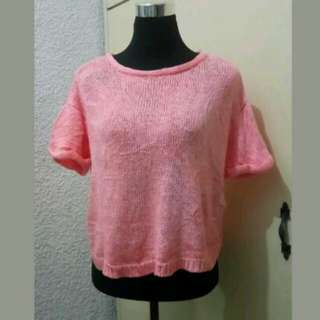 WA407 Forever21 Orange Knitted Blouse - Medium - Mint Condition