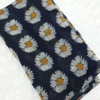 Pashmina dongker motif bunga matahari