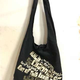 Black Canvas Sling Bag
