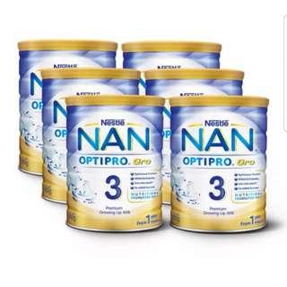 🎆New Year Sale🎆BN Nestle Nan Optipro Gro Stage 3 (800g x 6) + 3 samples FOC