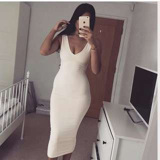 Meshki Nilda nude midi dress