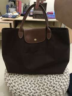 Longchamp Le Pliage Open Tote (Chocolate)