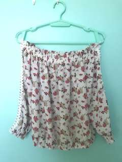 Off shoulder Floral Pink
