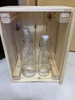 擺設 bottle box decoration 玻璃水樽 木箱