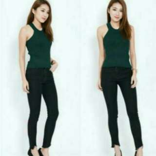 Stretchable Knitted Dark Green Top