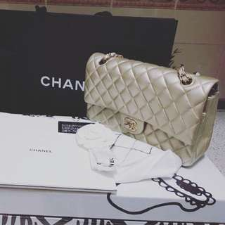 Chanel Classic Medium Iridescent Pearly Gold Caviar