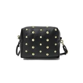 (Sales) Black Golden Stud Small Cube Sling Bag
