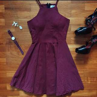 Maroon Halter Skater Dress
