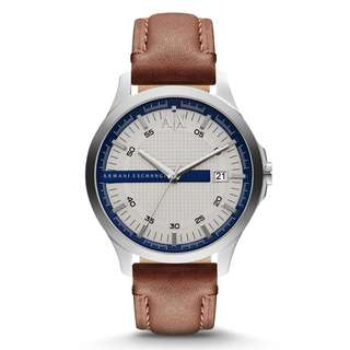 Armani Exchange AX2134 Hampton White Textured Dial Brown Leather Men's Watch (Brown)