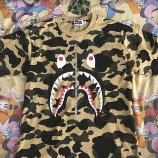 bape shark camo yellow