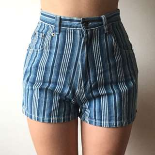 Vintage Striped Mid/ Highwaisted Denim Shorts
