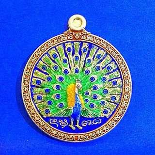 ⭐️Peacock silver longya Amulet Be 2555 by Kruba Sitti