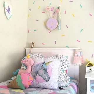 Nordic ins explosion models ribbon wall sticker birthday party photography background children's room bedroom decoration pvc stickers/Home Decor 🔘4 Colour Qty : 45 pcs $10