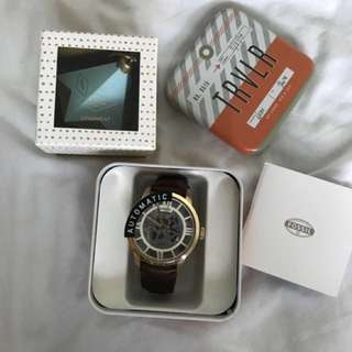 Fossil Townsman ME3043 Mens Skeleton Automatic Stainless Watch