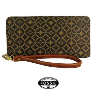 ⚠️HOT ITEM! FOSSIL SYDNEY PRINT ZIP CLUTCH WALLET (BROWN) READY STOCK!!!