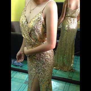 gold long gown w/slit for rent