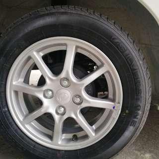 Axia 2018 spec G rim dan tyre baru