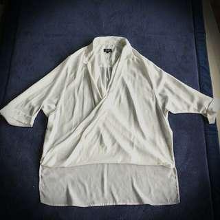 Preloved Bardot Collared Draped Shirt