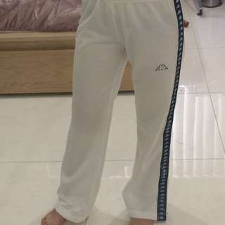 WHITE KAPPA TRACK PANTS