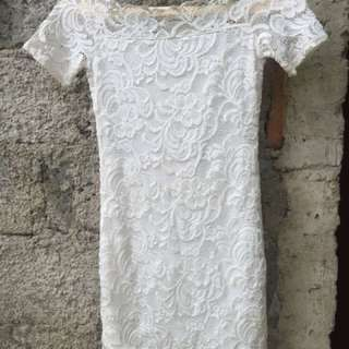 Mini dress white brokat HnM