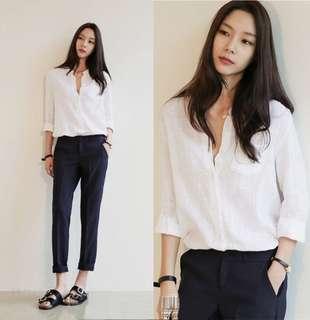White Coloured V-Neck Pockets Designed Korean Style Top