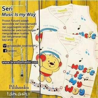 """1 ls baju bayi lengan pendek seri """"Music Is My Way"""""""