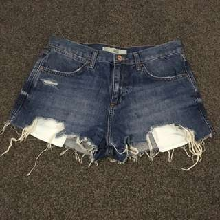 Topshop Moto Womens Shorts ROSA Size 10 vintage wash blue denim Ripped