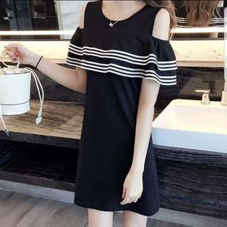 Summer Ruffle Korean Dress Black.