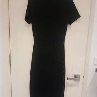 Seed Ribbed Black Bodycon Dress Size XS