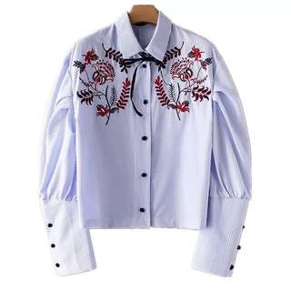 European and American style vertical stripe printing flower heavy embroidery collar tie puff sleeve shirt
